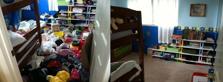 Home organizing: kids' room before and after
