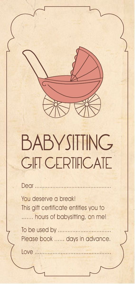 Christmas cheer gift idea babysitting aloha organizers for Date night gift certificate templates